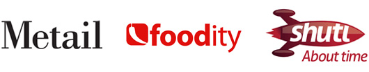 Metail, foodity, shutl logos